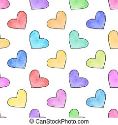 Seamless pattern with hearts. Hand-drawn background. Vector illustration.