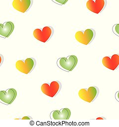 seamless pattern with hearts in red, yellow and green colors vector