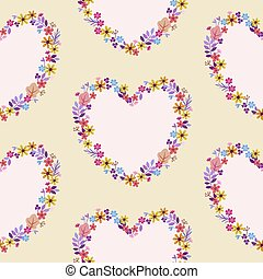 pattern with hearts of wildflowers delicate pastel colors