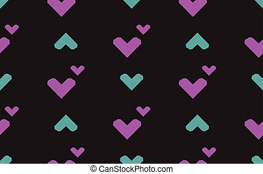 Seamless pattern with hearts on a black background. Vector illustration.