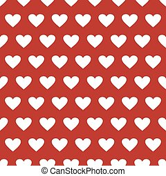 Seamless pattern with hearts on a red background