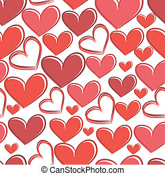 Seamless pattern with hearts on a white background.