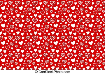 Seamless pattern with hearts on red background