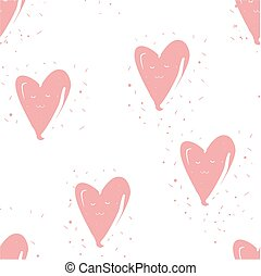 Seamless pattern with hearts on white. Hand drawn background.