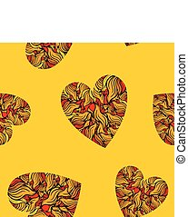 Seamless pattern with hearts on yellow background.