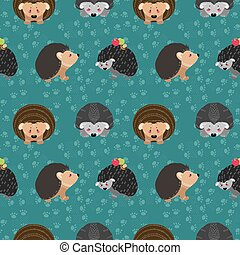 Seamless pattern with hedgehog on the background of a tree, plant, bush and different elements. Vector illustration