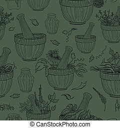 Seamless Pattern with Herbals Parts and Mortar, Jars and Vials. Dark Handdrawn Herbals and Objects Placed on the Dark Green Background. Alternative Medicine Background.