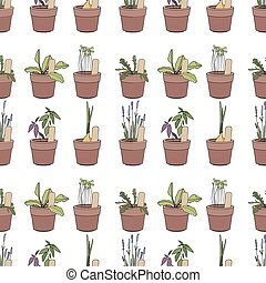 Seamless pattern with herbs and vegetables in flower pots. Simple soft colors, contour.