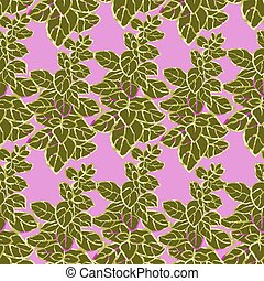 Seamless pattern with herbs, plants