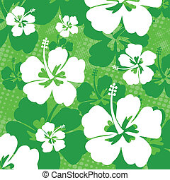 Seamless pattern with Hibiscus flowers on green background,...