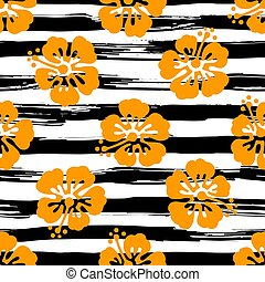 Seamless pattern with hibiscus flowers on striped background. Tropical summer illustration. Vector