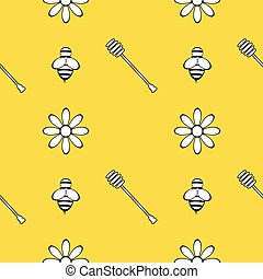 Seamless pattern with honey, bee and flowers. Design elements. Vector illustrations.