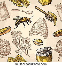 Seamless Pattern with honey, bee, hive, clover, spoon, cracker, honeycomb.
