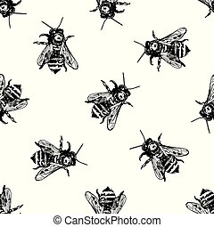 Seamless pattern with honey bee. Vector hand drawn.