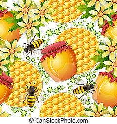 Seamless pattern with honey jar