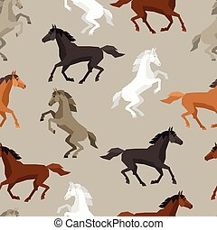 Seamless pattern with horse in flat style.