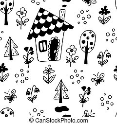 Seamless pattern with house, trees.