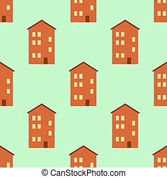 Seamless pattern with houses. Bright vector decorative houses. Flat design Vector Illustration