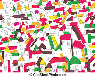 Seamless pattern with houses in the city