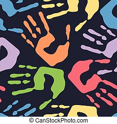 Seamless pattern with human handprints, colorful man hand stamps on dark background, vector illustration