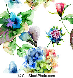 Seamless pattern with Hydrangea and Violet flowers, watercolor illustration