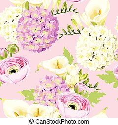 Seamless pattern with hydrangea and white flowers
