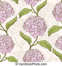 Seamless pattern with hydrangea