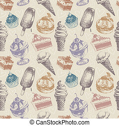Seamless pattern with ice cream and cakes