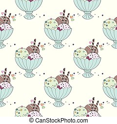 Seamless pattern with ice cream on a white background
