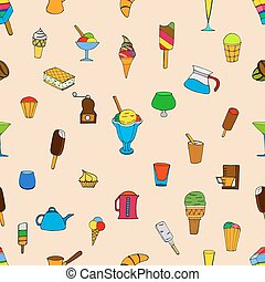 pattern with ice cream - Seamless pattern with ice cream.