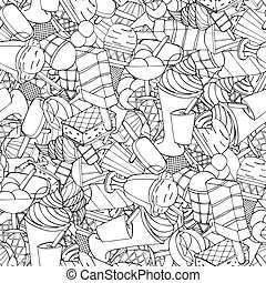 ice cream - Seamless pattern with ice cream. Vector...