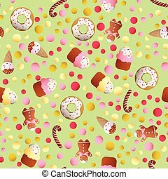 pattern with ice lolly, cookies, donuts with cream