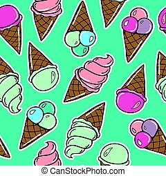 Seamless pattern with icecreams - Seamless pattern with...