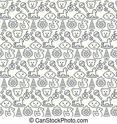 Seamless pattern with icons of baby items. Vector illustration.
