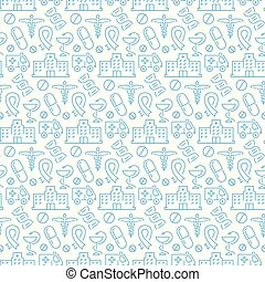 Seamless pattern with icons of medical items. Vector illustration.