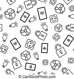 Seamless pattern with icons on white background