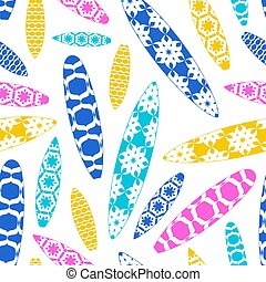 Seamless pattern with image of surfboards design
