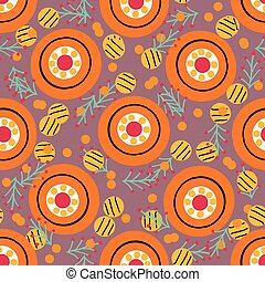 Seamless pattern with in Russian Dymkovo style. Vector illustration.