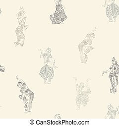 Seamless pattern with Indian dancers