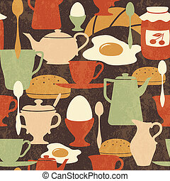 Breakfast seamless pattern with traditional food and drinks