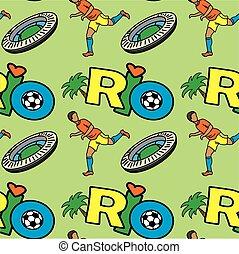Seamless pattern with Inscription RIO, football player stadium