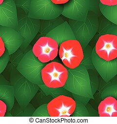 Seamless pattern with ipomoea flowers - Seamless pattern...
