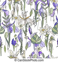 Seamless pattern with iris and herbs. Endless texture for your design