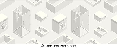Seamless pattern with Isometric Bathroom Furniture