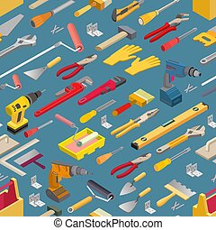 Seamless pattern with isometric construction tools. Vector background.