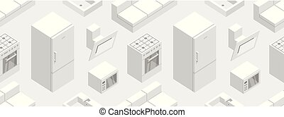 Seamless pattern with Isometric Kitchen Furniture