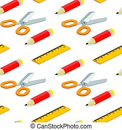 Seamless pattern with isometric pencil, ruler and scissors on white background.