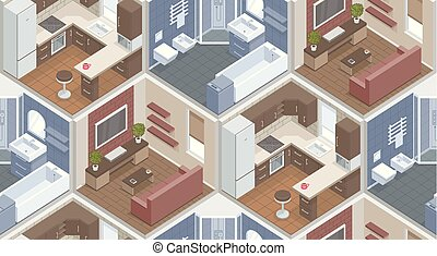 Seamless pattern with isometric rooms