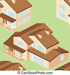 Seamless pattern with Isometric suburban american house. Vector dark grey.
