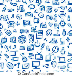 Seamless pattern with IT devices for your design
